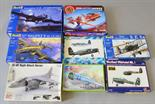 Eight assorted plastic model kits, all aircraft, for spares and repairs, includes Revell, Airfix