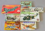 Eight Airfix plastic model kits, all military aircraft: 3021; 5015; 6003; 4100; 4015; 3006; 3010;