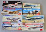 Eight Airfix plastic model kits, all passenger planes: 3179; 4170; 3174; 3170; 3180; 3177; 3176;