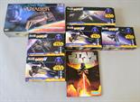 Six Revell TV related kits: 04810 Star Trek Voyager Kazon Fighter; five Star Wars (two 06650, two