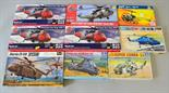 Nine assorted plastic model kits by various manufacturers: four Airfix; three Italeri; Revell H-