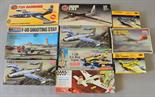 Nine plastic model kits, all military aircraft, by Airfix, Academy and similar. All boxed,