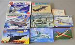 Nine plastic model kits, all military aircraft, by Airfix, Hobby Craft and various manufacturers.