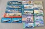 16 x plastic model kits, all boats, by Revell, Airfix and similar. All boxed, unstarted and appear