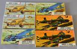 Six Airfix plastic model kits in red line boxes, all military aircraft: two 584 Halifax B MkIII;