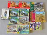 12 x plastic model kits, military and soldiers, by Airfix, Zvezda and similar. Boxed, not checked