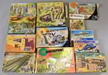 Selection of boxed Airfix scenery sets, scales vary, includes: #1703 Fort Sahara; #1708 Pontoon