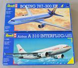 Two Revell plastic model kits: 04216 Boeing 767-300 ER; 04254 Airbus A 310 Interflug/Luftwaffe.