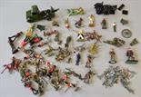 Quantity of assorted metal soldiers by Britains and others, mostly lead with a selection of plastic