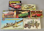 Seven assorted plastic model kits: Airfix Flying Fortress; Humbrol Land Rover; Revell Austin-Healey