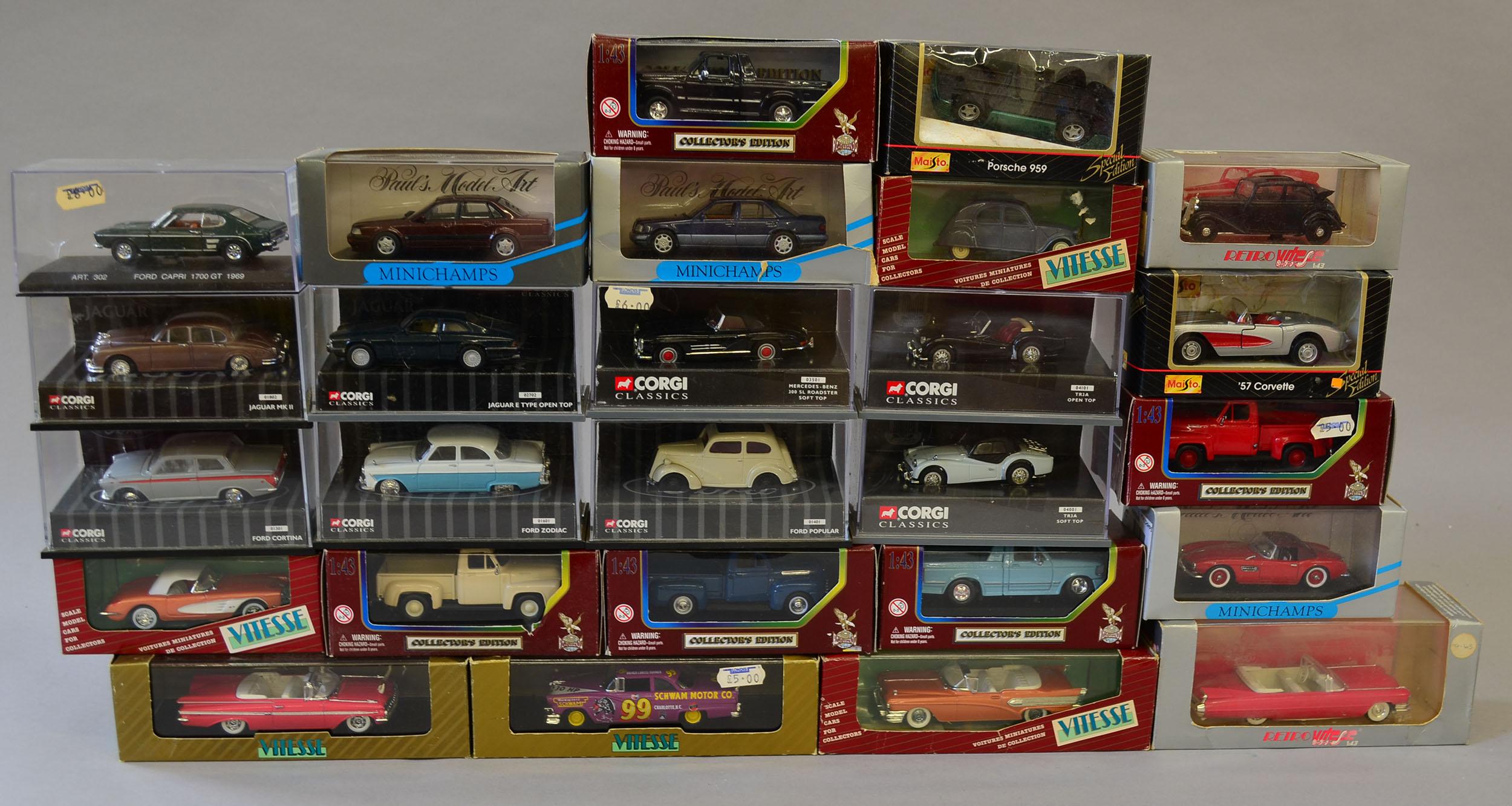 27 x assorted 1:43 scale diecast model cars, includes Corgi, Vitesse, Road Legends, Maisto and o