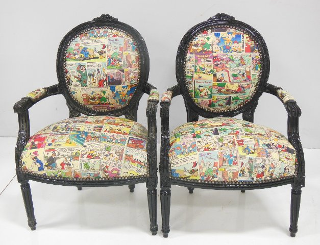 """Pair Louis XVI style fautieuls With Disney Donald Duck style comic upholstery. Approx. 37.5"""" H x 25"""""""