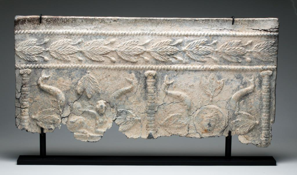 Roman Lead Sarcophagus Panel, Minerva and Sphinx  Roman Empire, ca. 2nd to 3rd centuries CE.