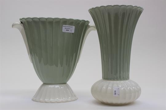 Two Art Deco Spode Fortuna Vases Green And Cream Glaze One Fluted