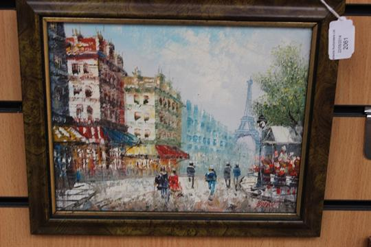 Caroline Burnett (20th Century) Paris street scene with the Eiffel
