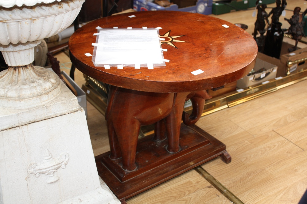 Lot 2251   An African Mahogany Elephant Table, The Circular Top Inlaid With  A Star