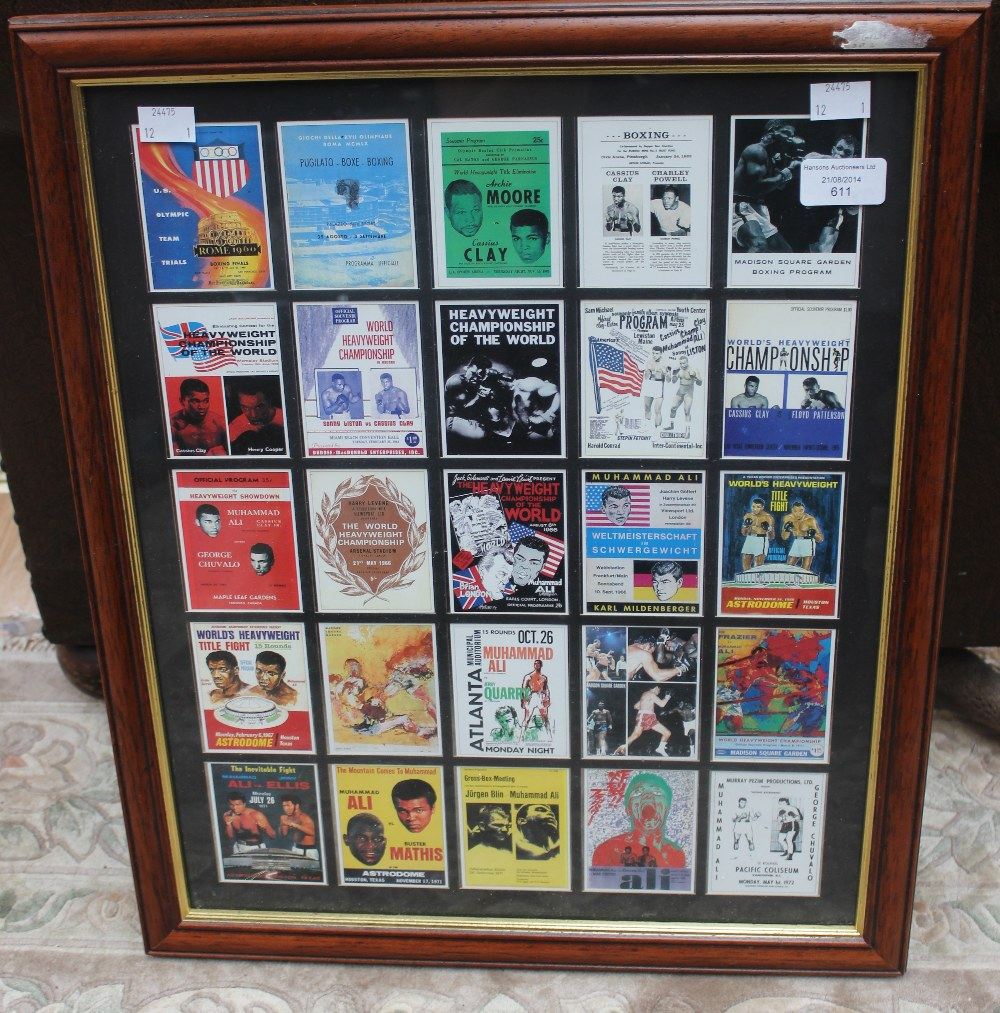 Lot 611 - A framed collection of 25 trade cards, all relating to Muhammad Ali, all individually mounted and