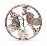 Arno Malinowski for Georg Jensen, a silver circular open work brooch, Moonlight Butterflies, no.283,