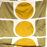 Peter McCulloch for Heals, a pair of 'Project' pattern curtains designed 1965, mustard green circles