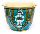 A large Minton Secessionist jardiniere designed by Leon Solon and John Wadsworth, green, turquoise