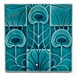 Lewis F Day, a ceramic tile, circa 1903, raised decoration of stylised peacock feathers on a check