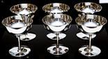 A set of six Art Deco silver champagne coupes, London 1925, of plain hemispherical form (6)