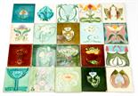 A collection of Art Nouveau majolica, tube lined tiles, various makers and designs including Minton,