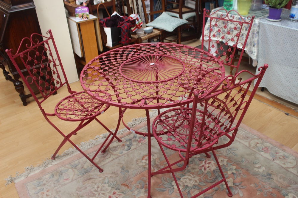 Backyard Table Match : Lot 2288  Red garden table with four matching chairs