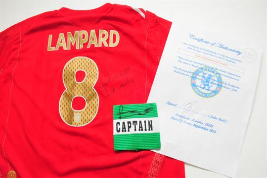 An England football shirt signed by Frank Lampard together with a Lampard  signed Chelsea captains b2c0db6b4