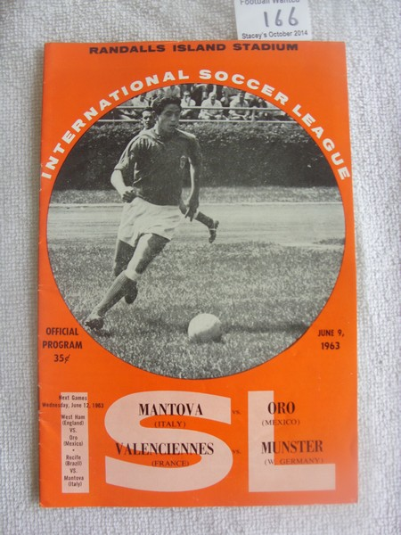 Lot 166 - 1963 USA Tour Football Programme: Mantova v Oro which doubles as Valenciennes v Munster played at