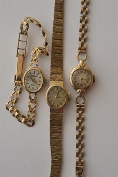 Three Ladies 9ct Gold Vintage Wristwatches Including Rotary And H Samuel