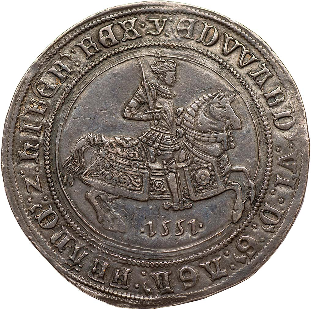 Lot 30 - Edward VI, fine silver coinage, crown, mm. y, 1551, crowned figure of king on horseback r.,