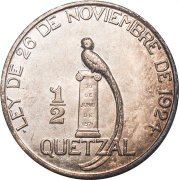 Guatemala Republic Half Quetzal 1925 National Arms Without