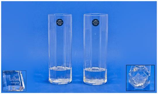 5581efd8f962 Pair Of Rosenthal Studio Line Medusa Longdrink 8 Sided Glasses ...