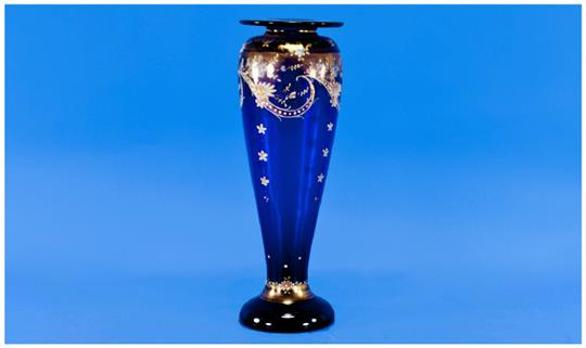 Bristol Blue Glass Vase Of Tapering Form With Etched Floral Swirl