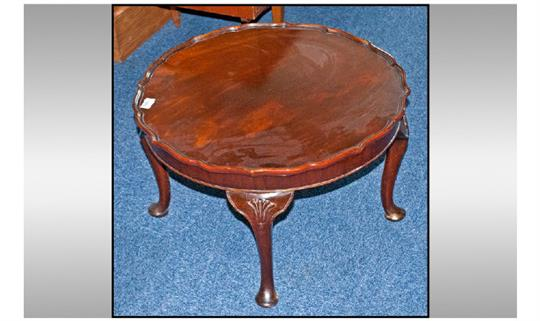 Queen Anne Style Round Pie Crust Edge Walnut Coffee Table, On Four Anne  Legs With Carved Shell D