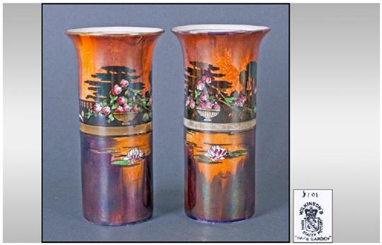 Pair Of Wilkinson 39pan39s Garden39 Lustre Vases 675