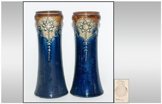 Royal Doulton Pair Of Art Nouveau Vases C1900 10 Shape 6462 Each