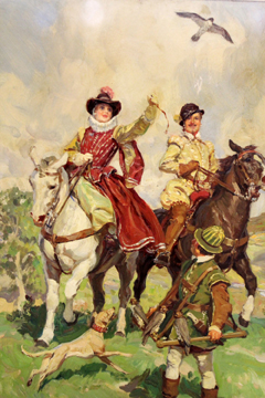 Lot 439 - W.R.S. Stott (exh. 1905-1934),Falconry on horseback,signed,oil on board,52 x 36cm.