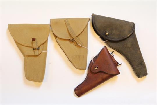 A First War Webley MKVI canvas on leather holster, together