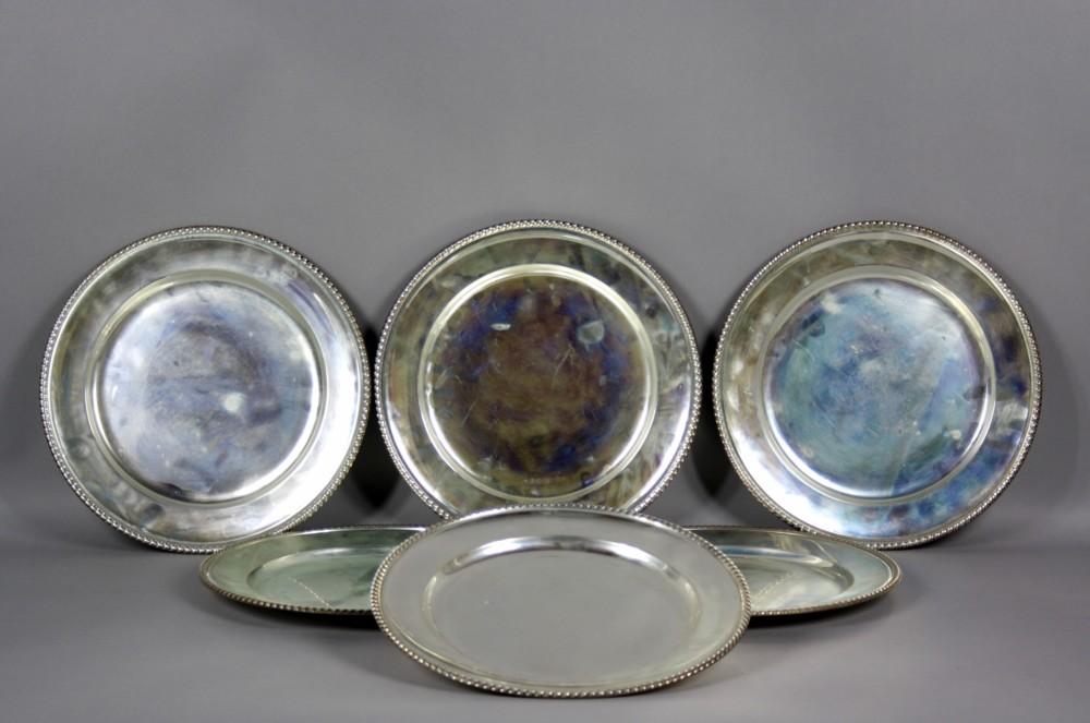 Famoso Sei sottopiatti in argento 800 completi di contenitore in tessuto  FE59
