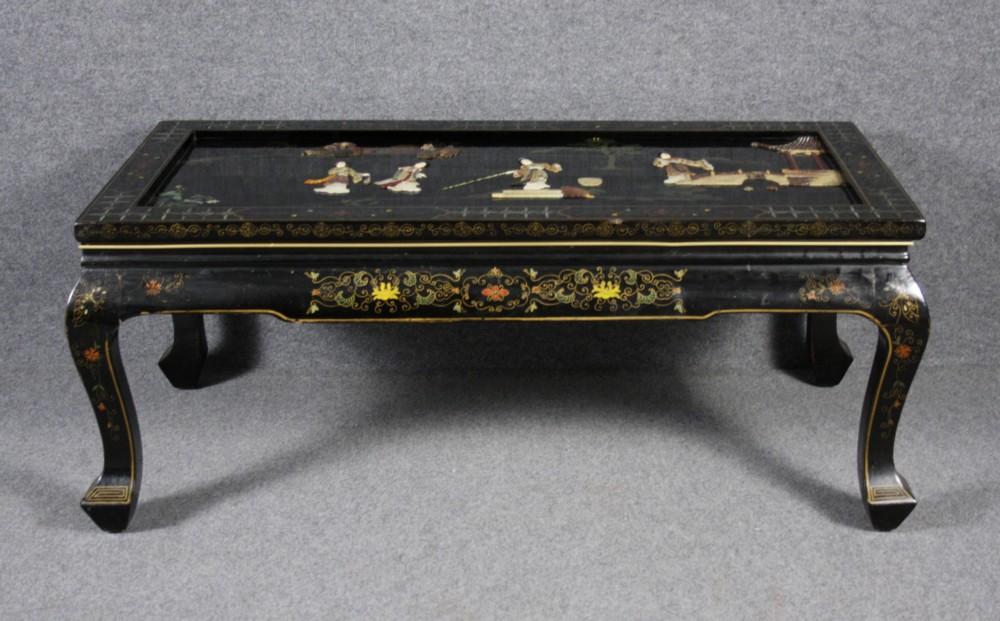 tavolino da salotto in legno laccato con pietre dure incastonate ... - Tavolino Laccato Company