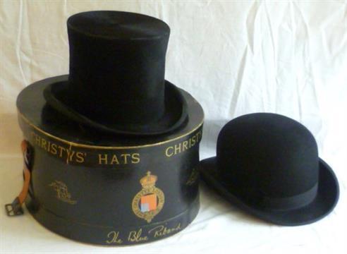 af2e6f5db8b Black silk   moleskin top hat in vintage Christys` London hat box ...