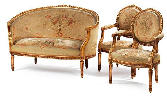 A FRENCH SEAT FURNITURE Style Louis XVI, 1 Canape, 2 Side Chairs 19th  Century Canape. 93 X 135 X