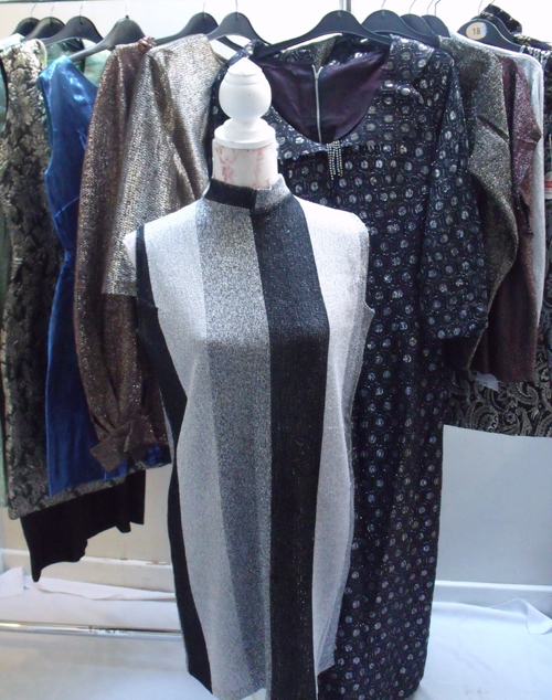 Lot 36 - A COLLECTION OF 1960S AND 1970S VINTAGE EVENING WEAR, comprising a `Polly Peck` lurex trouser