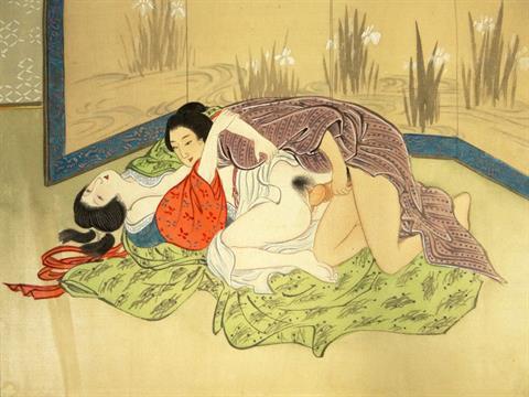 Amato Erotic 19/20th Century Japanese Shunga Mixed Media on Woven Linen  UM08