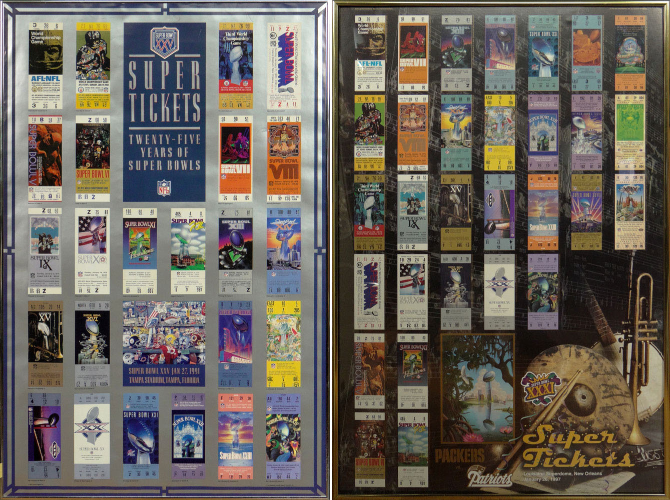 two 2 super bowl tickets framed posters 1997 packers vs