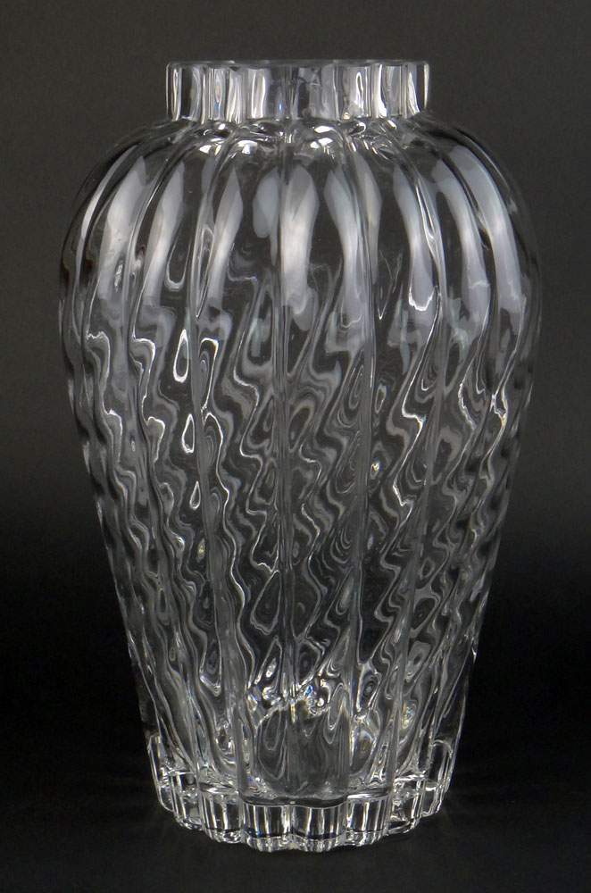 Large Tiffany And Co Crystal Vase Features A Swirled Ribbed Motif
