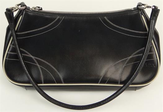 623a783941f5 Prada Black Leather Lady`s Handbag with White Stitching. Has Original Prada  Storage Bag. Signed