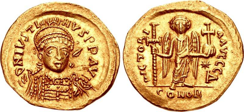 Lot 823 - Byzantine Justin I. 518-527. AV Solidus (21mm, 4.22 g, 6h). Constantinople mint, 4th officina.